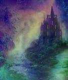 Абстрактный ландшафт с старым замком Стоковые Фото