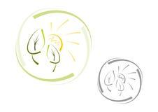 Абстрактный логос природы: Sun и листья Стоковые Изображения
