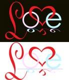 Абстрактный логотип сердца влюбленности надписи Стоковая Фотография RF