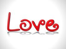 абстрактный лоснистый текст красного цвета влюбленности 3d Стоковые Фотографии RF