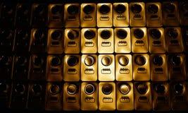 Абстрактный металл чонсервные банкы 1 галлона с желтым отражением стоковое изображение rf