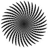 Абстрактный мотив излучать, концентрический monochrome элемент на белизне Стоковые Изображения RF