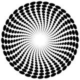 Абстрактный мотив излучать, концентрический monochrome элемент на белизне Стоковое Изображение