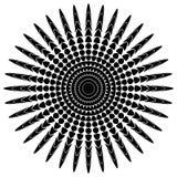 Абстрактный мотив излучать, концентрический monochrome элемент на белизне Стоковое фото RF