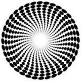Абстрактный мотив излучать, концентрический monochrome элемент на белизне Стоковая Фотография