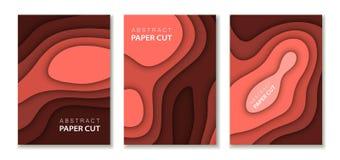 A4 абстрактный набор иллюстрации искусства бумаги цвета 3d Контраст красит красный План дизайна для представлений знамен, летчики иллюстрация штока
