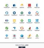 Абстрактный логотип установленный для деловой компании Конструкция, индустрия, architectureconcepts Работа, инженер, технология с Стоковая Фотография