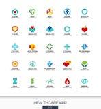 Абстрактный логотип установленный для деловой компании Концепции здравоохранения, медицины и фармации перекрестные Здоровье, забо Стоковое Фото