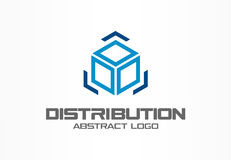Абстрактный логотип для деловой компании Элемент дизайна фирменного стиля Коробка и стрелки груза вокруг, поставка, экспорт бесплатная иллюстрация