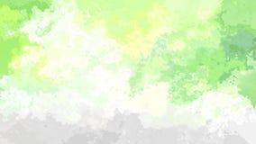 Абстрактный оживленный запятнанный цвет зеленого цвета, желтого цвета, серых и белых весны безшовной петли предпосылки видео- ярк иллюстрация штока