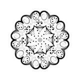 Абстрактный орнамент в круге Богато украшенная мандала с травяными мотивами Элемент для конструкции Стоковое Изображение