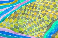 Абстрактный орнамент на silk шарфе в методе батика Стоковая Фотография