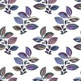 Абстрактный орнамент E Чертеж акварели листьев других цветов Листья и ветви для дизайна иллюстрация штока