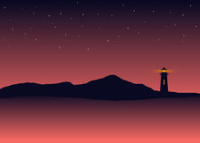 Абстрактный пейзаж моря силуэта предпосылки с маяком Стоковое Изображение RF