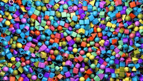 Абстрактный перевод 3d предпосылки с красочно кубом, сферой, цилиндром, капсулой, pyram бесплатная иллюстрация