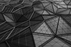Абстрактный перевод 3D низкой поли черной поверхности Стоковые Фотографии RF