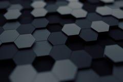 Абстрактный перевод 3D поверхности с шестиугольниками Стоковое Изображение RF