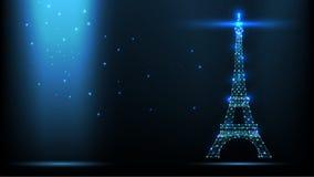 Абстрактный передатчик сигнала радиосвязей wireframe иллюстрации вектора, Эйфелева башня антенны радио Франции от линий и иллюстрация штока