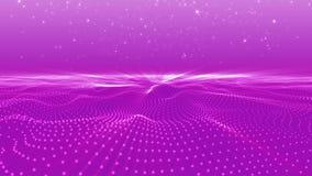 Абстрактный пинк ставит точки космос 3 размеров формы волны полигональный сток-видео