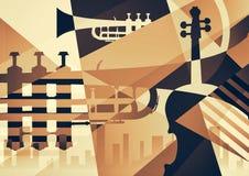 Абстрактный плакат джаза, предпосылка музыки Стоковая Фотография