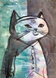 Абстрактный портрет кота Стоковые Изображения