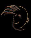 Абстрактный портрет неизвестного с волосами летания на черноте Стоковая Фотография