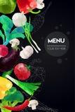 Абстрактный полигональный шаблон меню Геометрический дизайн треугольника Красочная иллюстрация овощей вектора Стоковые Фотографии RF