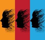 абстрактный профиль grunge девушки Стоковые Изображения RF