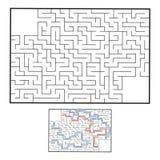 Абстрактный прямоугольный лабиринт малыши игры Головоломка для детей Головоломка лабиринта Плоская иллюстрация вектора С ответом бесплатная иллюстрация