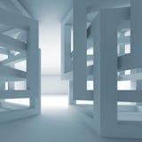 Абстрактный пустой голубой современный интерьер 3d с хаотическими кубами Стоковое фото RF
