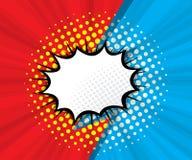 Абстрактный пустой пузырь речи с красной и голубой предпосылкой иллюстрация вектора