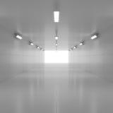 Абстрактный пустой сияющий тоннель с светом в конце иллюстрация 3d стоковые изображения