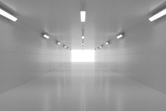 Абстрактный пустой сияющий тоннель с светом в конце иллюстрация 3d стоковое фото
