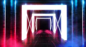 Абстрактный пустой тоннель, коридор, загоренный неоновым светом, дым стоковые изображения rf