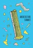 Абстрактный плакат стиля 80s-90s Мемфиса с геометрическими формами и античным столбцом Ультрамодная красочная предпосылка, архите Стоковая Фотография