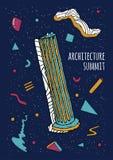 Абстрактный плакат стиля 80s-90s Мемфиса с геометрическими формами и античным столбцом Ультрамодная красочная предпосылка, архите Стоковые Фотографии RF