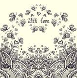 Абстрактный романтичный ландшафт в стиле Дзэн-путать для ослабляет страницу расцветки черным по белому Стоковая Фотография RF