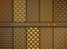 Абстрактный роскошный антиквариат стиля космоса набора картины стиля Арт Деко золота вектор eps 10 иллюстрации иллюстрация штока