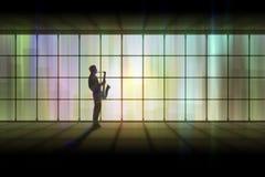 абстрактный саксофон игрока Стоковое Изображение