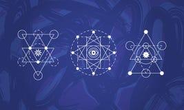 Абстрактный священный комплект символов геометрии Стоковые Фото