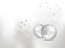 абстрактный серебр рождества baubles предпосылки Стоковые Изображения RF