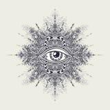 Абстрактный символ всевидящего ока в стиле Boho для татуировки черным по белому Стоковое Фото