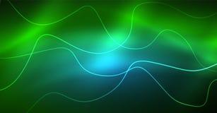 Абстрактный сияющий элемент дизайна волны цвета glowinng на темной предпосылке - наука или концепция технологии иллюстрация штока