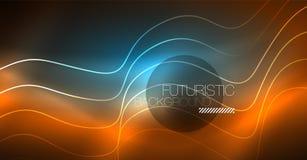 Абстрактный сияющий элемент дизайна волны цвета glowinng на темной предпосылке - наука или концепция технологии иллюстрация вектора