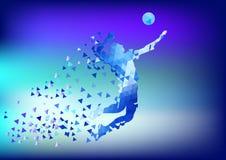 Абстрактный силуэт волейболиста треугольника Стоковая Фотография