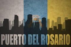 Абстрактный силуэт города с del Rosario Puerto текста на винтажных Канарских островах сигнализирует Стоковые Фотографии RF