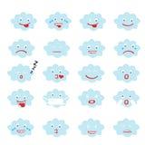 Абстрактный смешной плоский комплект значка смайлика emoji стиля, голубое облако Стоковые Изображения RF