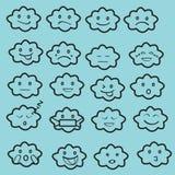 Абстрактный смешной плоский комплект значка смайлика emoji стиля, заволакивает чернота, голубая Стоковые Изображения