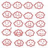 Абстрактный смешной плоский комплект значка смайлика emoji стиля, заволакивает красный цвет Стоковое фото RF