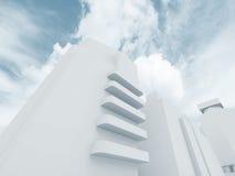 Абстрактный современный городской пейзаж, голубой тон 3d Стоковые Изображения RF